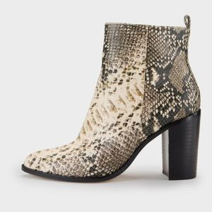 DNKY ankle boot, snake skin design, 3.5 inch heel